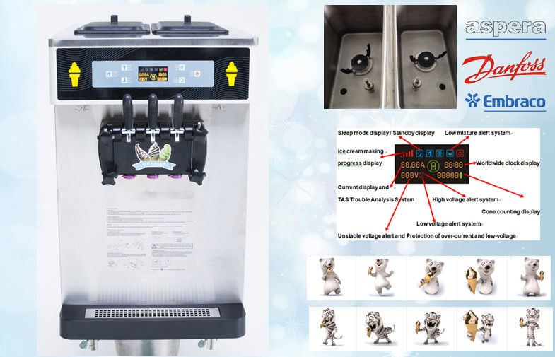 3 Flavors Tabel Top Mini Ice Cream Machine , 38Liters / Hour , Keep Fresh Overnight , Automatic Clean