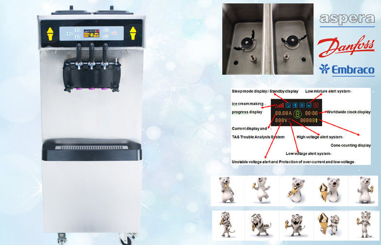 Smart System Soft Ice Cream Vending Machine , 38-55 Liters/Hour , Low Noisy , Full Stainless Steel 30