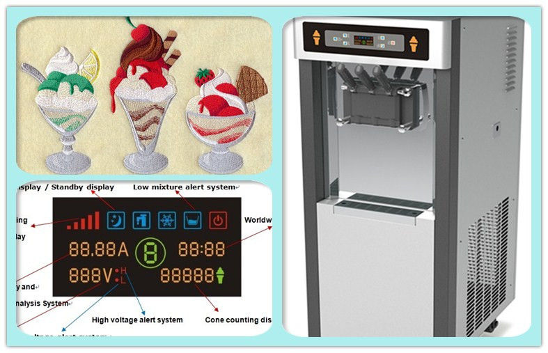 Commercial Soft Ice Cream Vending Machine 2 + 1 Mixed Flavors High Capacity
