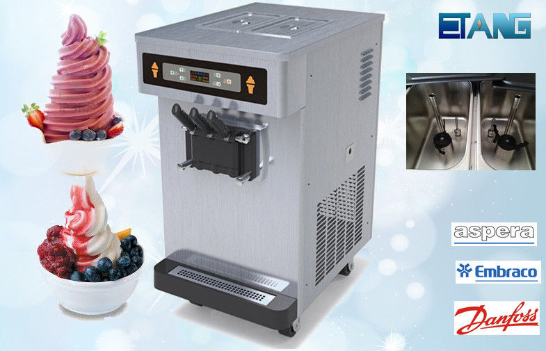 Table Top Soft Serve Ice Cream Maker 3 Flavor 35 Liters Per Hour, Pre-Cooling Counter Top Ice Cream Machine