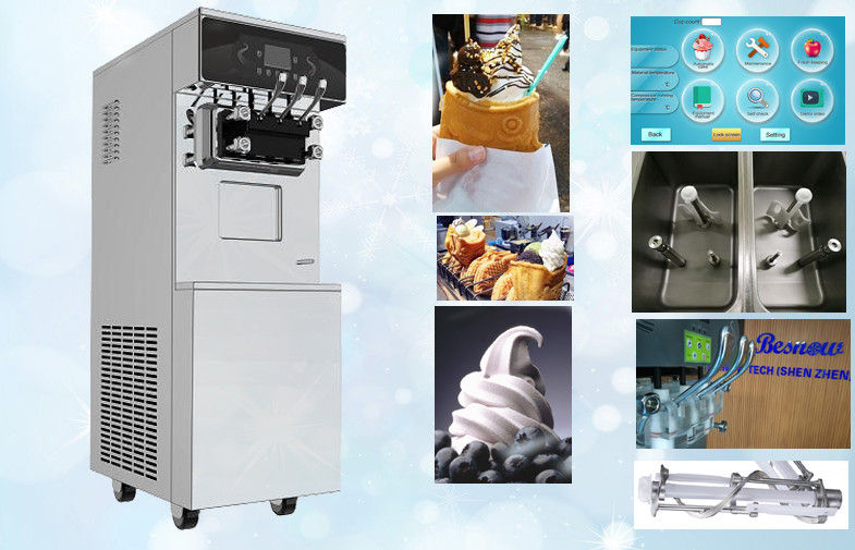 Stainless Steel Ice Cream Making Machine 3 Flavors with Standby System