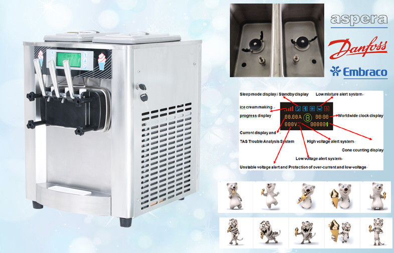 3 Flavor Top Ice Cream Making Machine , 18-25Liters per hour , Big LCD Display Screen , Stainless Ste